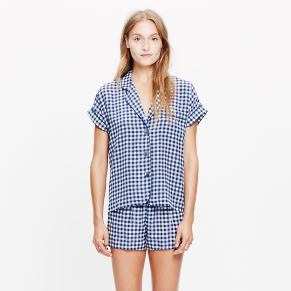 Madewell Other - Madewell Bedtime Silk Pajama Set in Gingham